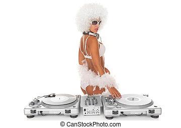 sexy, blanco, mujer, dj, djing