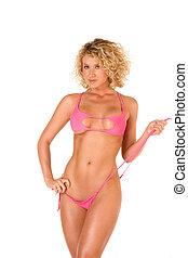 Sexy blond female in red bikini