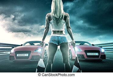 sexy, blond, femme, courses, débuts