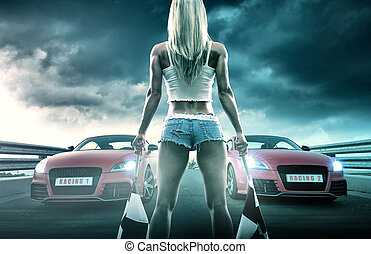 sexy, blond, frau, anfänge, rennsport