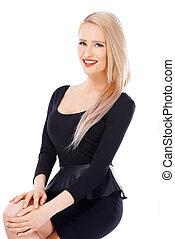 sexy, blond, frau, in, schwarzes kleid