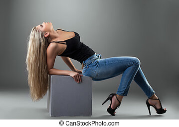 sexy, blond, frau, jeans