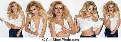 sexy, blond, frau, zieht, der, t-shirt