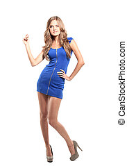 Sexy blond lady in blue dress isolated on white