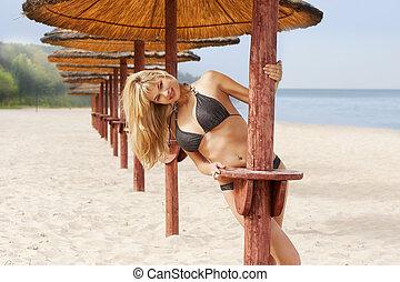 sexy blond on the beach