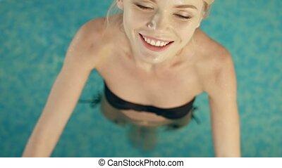 sexy, blond, piscine, délassant, natation