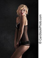 sexy blond with black underwear