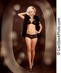 Sexy blond woman in black underwear, full body shot, in Zero
