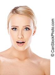Sexy blond woman portrait on white