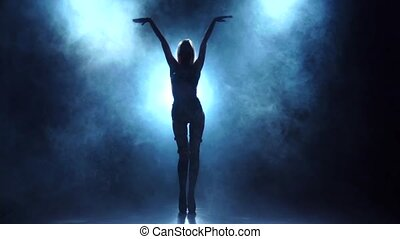 Sexy blonde dancer in lingerie. Silhouette in smoky, slow motion