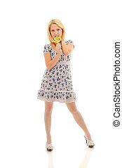 Sexy blonde licking lollipop