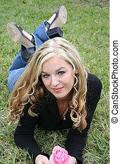 Sexy blonde posing