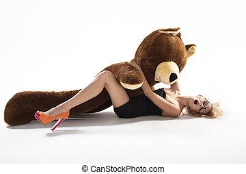 Sexy blonde with huge teddybear