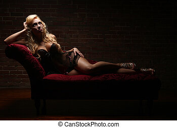 Sexy Blonde Woman in Lingerie