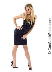Sexy blonde woman in little black dress