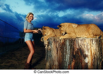 sexy blonde woman playing with lion cub on background with...