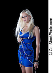 Sexy blonde young woman  with chain