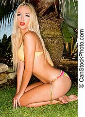 Sexy Blondie Posing in Skimpy Bikini