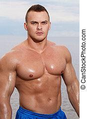 sexy, bodybuilder, strand