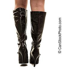 sexy, bottes, marche, contre, a, fond blanc