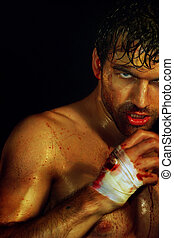 Sexy Boxer Ready - Gritty portrait of a sexy young, bloody...