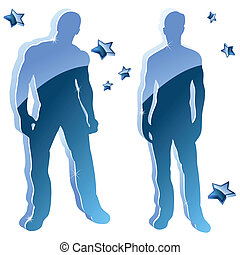 Sexy boy blue glossy silhouettes with stars.