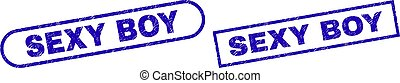 SEXY BOY Blue Rectangle Watermark with Unclean Surface