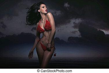 sexy, brünett, in, dunkel, szenerie