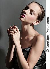 sexy brunet beauty portrait - Fashion women brunet beauty...