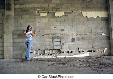 Sexy Brunette at a Block Wall (2)