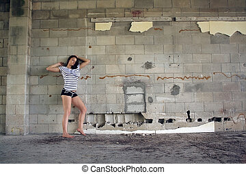 Sexy Brunette at a Block Wall (6)