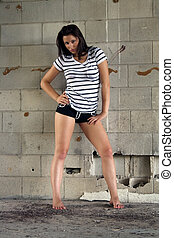 Sexy Brunette at a Block Wall (8)