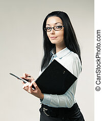 Sexy brunette businesswoman / assistant / secretary portrait. Girl holding leather folder. Wearing shirt, skirt and glasses. One of a series.