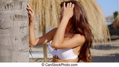 Sexy Brunette Girl Posing Next to Palm Tree - Slow Motion...