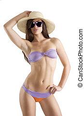 sexy brunette in bikini
