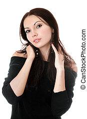 Sexy brunette in black