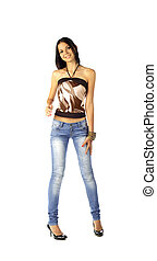 sexy brunette in jeans