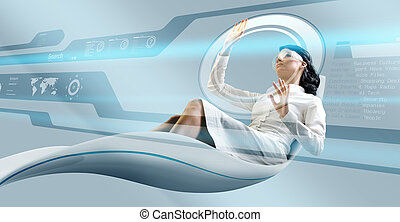 sexy, brunette, oparating, interface, in, futuristisch, leunstoel