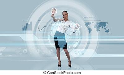 Sexy brunette operating data