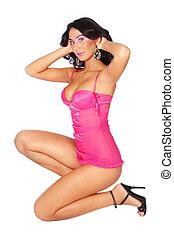 Sexy brunette - Beautiful slim sexy brunette in pink...