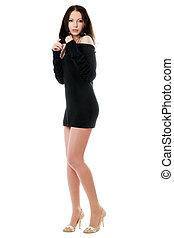 Sexy brunette posing in dress