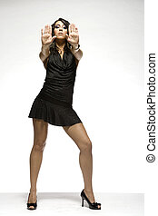 sexy brunette - beautiful brunette wearing black dress on...