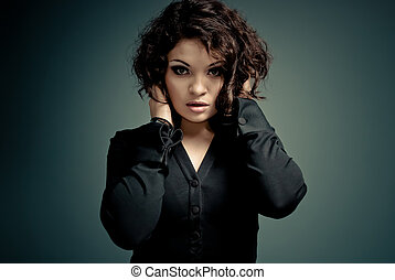 Sexy brunette studio portrait