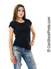 Sexy brunette wearing blank black shirt