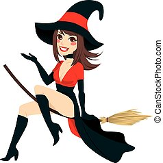 Sexy Brunette Witch - Sexy brunette witch flying on a broom...