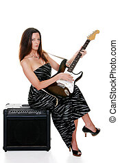 sexy brunette with a guitar