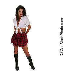 Sexy Brunette With Long Hair Dressed in a Schoolgirl Outfit
