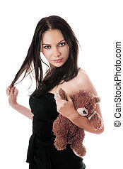 Sexy brunette with teddy-bear