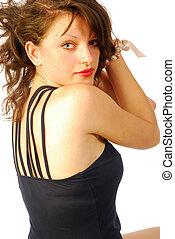 Sexy brunette woman in elegant evening dress 295