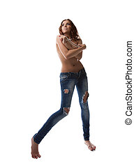 Sexy brunette woman in jeans